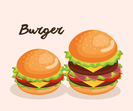 delicious big burger fast food vector illustration design