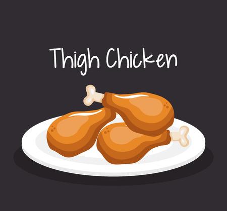 delicious thigh chicken fast food vector illustration design
