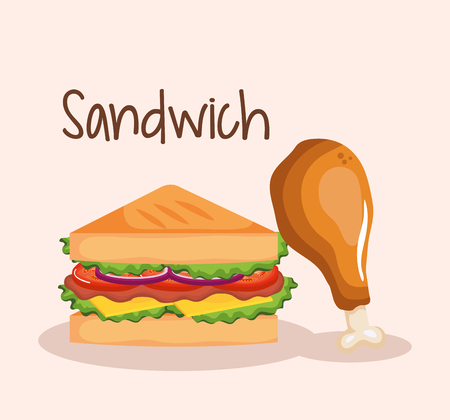 delicious sandwich with chicken drumstick fast food vector illustration design Ilustrace