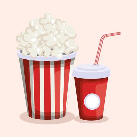 delicious pop corn with soda fast food vector illustration design Stock Illustratie
