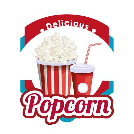 delicious pop corn with soda fast food vector illustration design 일러스트