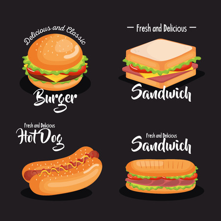 delicious fast food icons vector illustration design Illustration