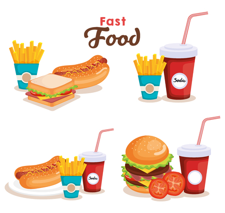 delicious fast food icons vector illustration design Illusztráció