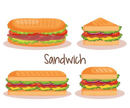Delicioso sándwich de comida rápida, diseño de ilustraciones vectoriales iconos