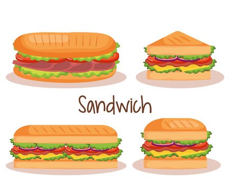 delicious sandwich fast food set icons vector illustration design