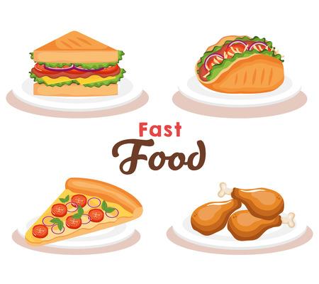 delicious fast food icons vector illustration design Stock Illustratie