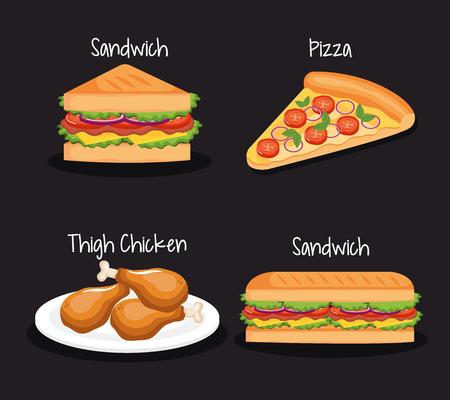 delicious fast food icons vector illustration design Illustration