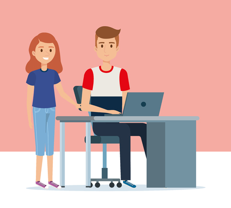 young couple in the workplace avatars characters vector illustration design