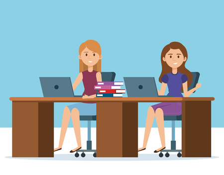 young girls in the workplace avatars characters vector illustration design