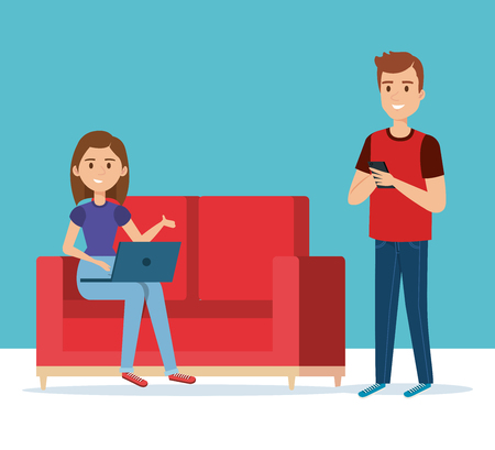 young couple in the sofa avatars characters vector illustration design