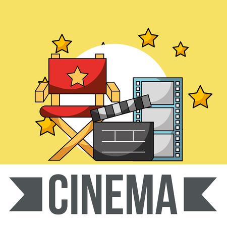 cinema director chair clapperboard film strip stars vector illustration