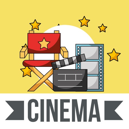cinema director chair clapperboard film strip stars vector illustration