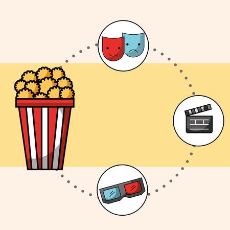 popcorn 3d glasses theater mask cinema vector illustration Ilustrace