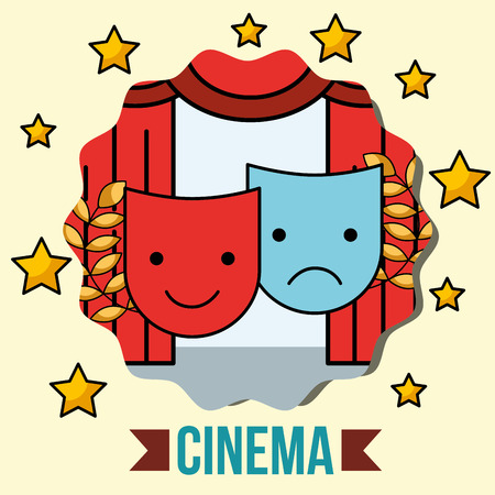 theatrical mask comedy and tragedy emblem cinema vector illustration