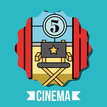 director chair curtains movie countdown frame cinema vector illustration Illustration