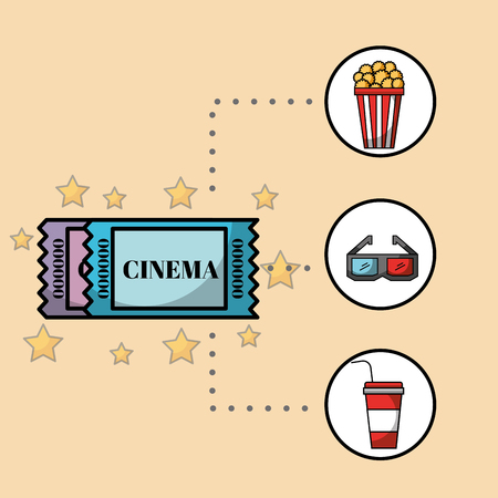 tickets coupon popcorn 3d glasses and soda cinema vector illustration