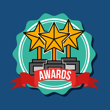 trophy stars awards cinema badge vector illustration