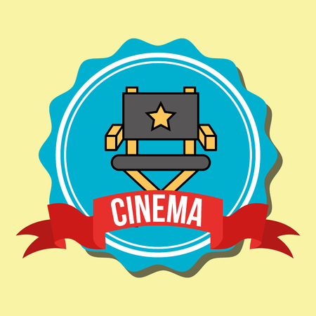 director chair film cinema label vector illustration