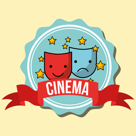theatrical comedy and tragedy mask cinema label vector illustration 일러스트