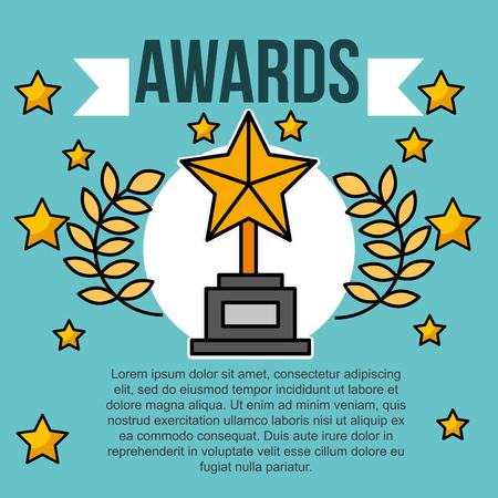 awards trophy stars emblem banner cinema vector illustration