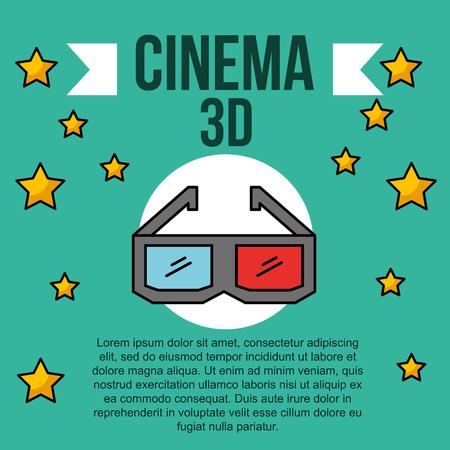 cinema 3d glasses stars entertainment banner vector illustration