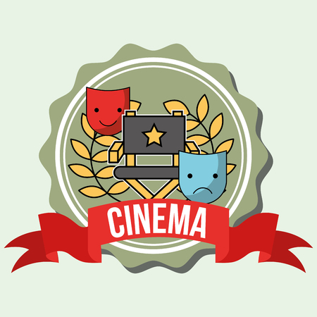 theatrical comedy and tragedy mask director chair cinema label vector illustration