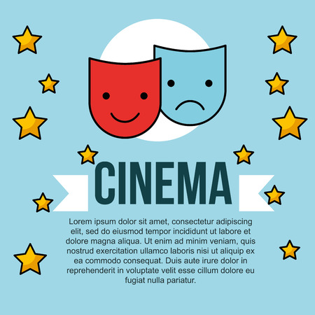 theatrical comedy and tragedy mask cinema banner vector illustration