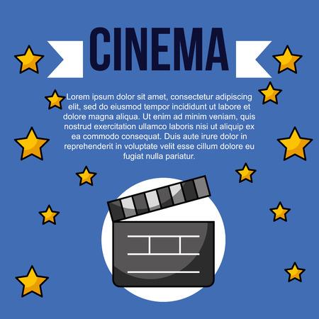 clapperboard movie film stars banner vector illustration