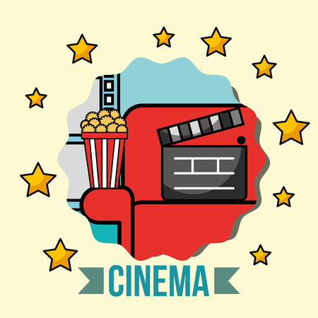 chair popcorn clapperboard stars cinema banner vector illustration