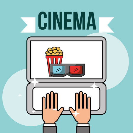 hands with laptop online popcorn 3d glasses cinema vector illustration