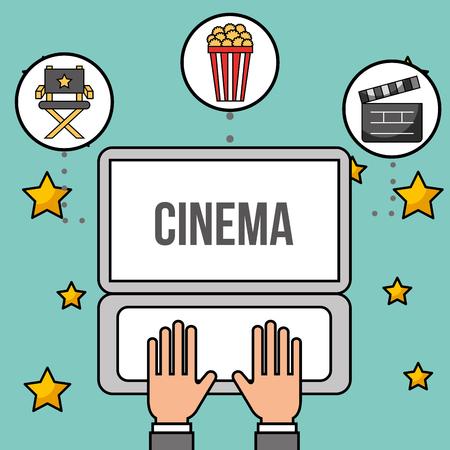 hands with laptop online popcorn cinema vector illustration