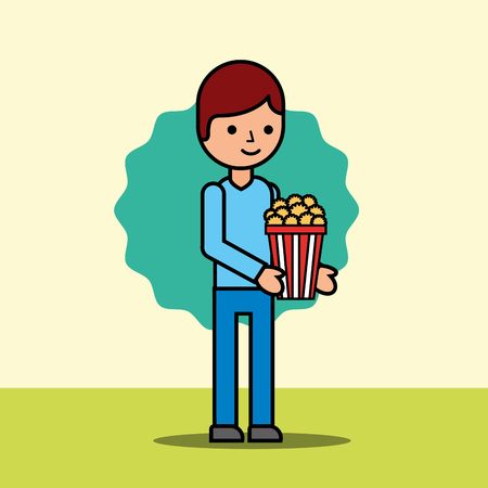 young man holding popcorn movie cinema vector illustration
