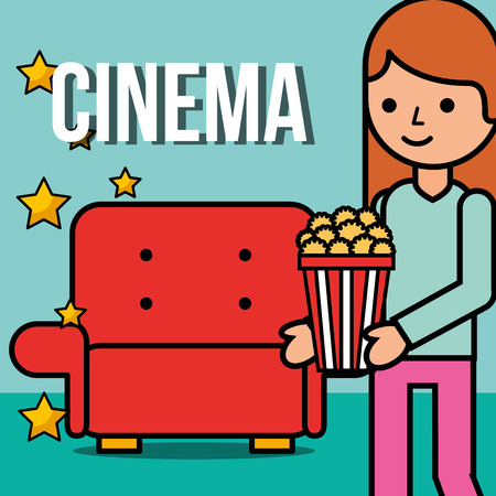 young woman holding popcorn movie and seat cinema vector illustration