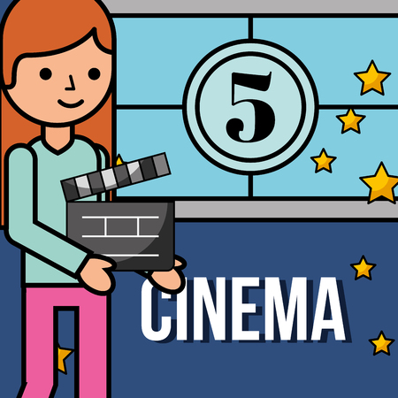 young woman holding movie cinema clapperboard countdown frame vector illustration