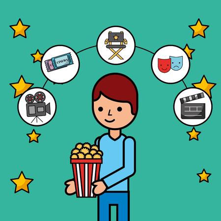 young man holding popcorn movie cinema poster vector illustration