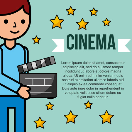 young man holding movie clapperboard cinema vector illustration