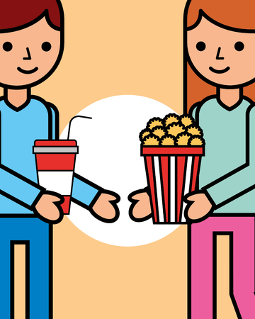 young man and woman with soda and popcorn cinema vector illustration