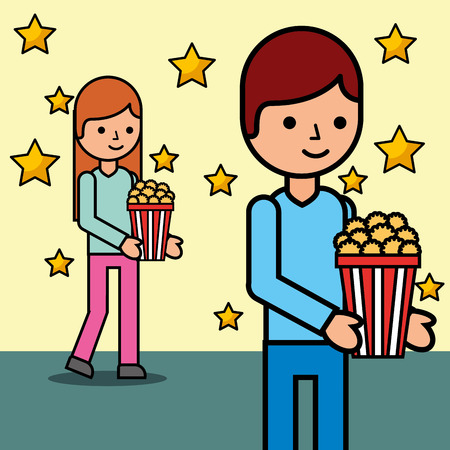 young man and woman with popcorn cinema vector illustration