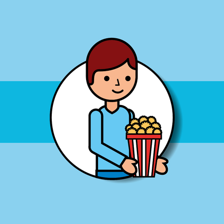portrait young man holding popcorn cinema vector illustration