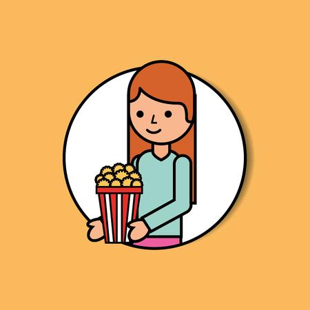 portrait happy woman holding popcorn cinema vector illustration Standard-Bild - 103575783