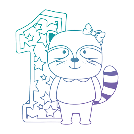 cute number one with cute raccoon vector illustration design Stock Illustratie