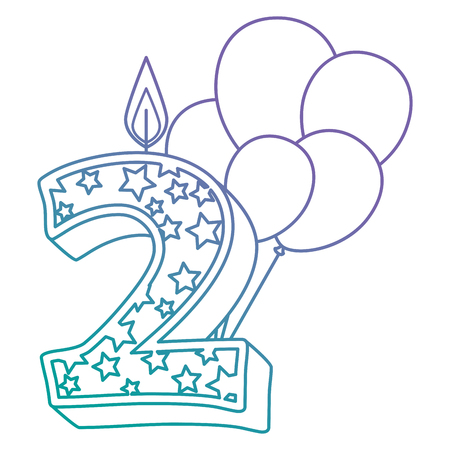 cute number two candle with balloons helium vector illustration design Ilustração