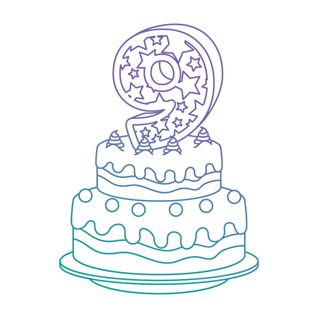 cute number nine candle with sweet cake vector illustration design