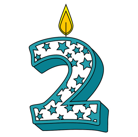 cute number two candle with stars pattern vector illustration design