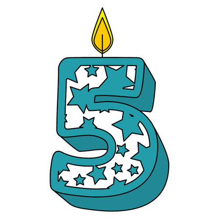 cute number five candle with stars pattern vector illustration design