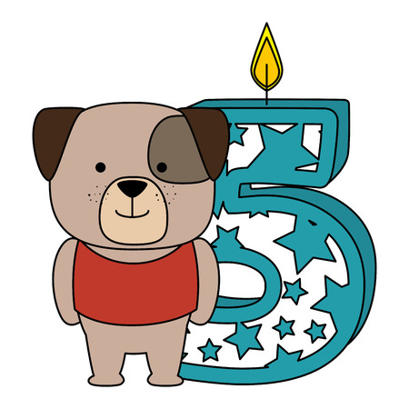 cute number five candle with dog character vector illustration design