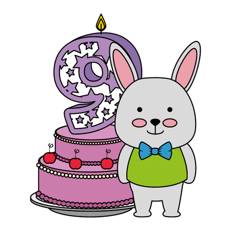 cute number nine candle with rabbit and cake vector illustration design Illustration