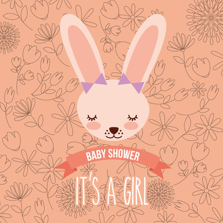 cute female rabbit baby shower girl vector illustration
