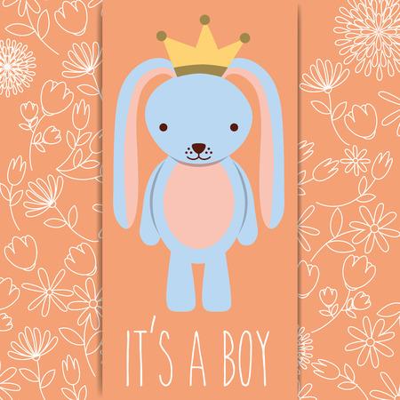 its a boy baby shower blue rabbit with crown card vector illustration Foto de archivo - 103705859