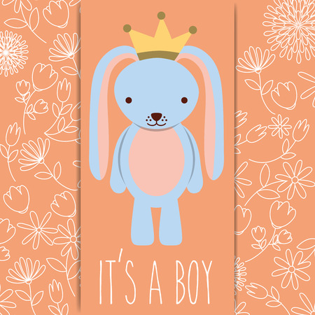 its a boy baby shower blue rabbit with crown card vector illustration